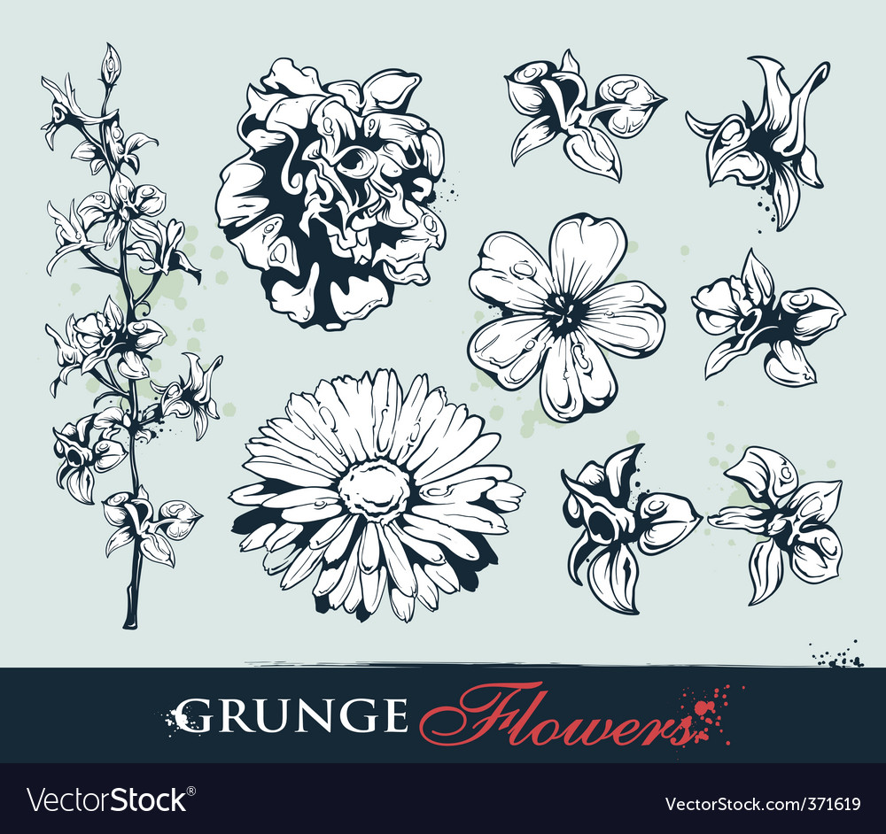 Set of grungy flowers