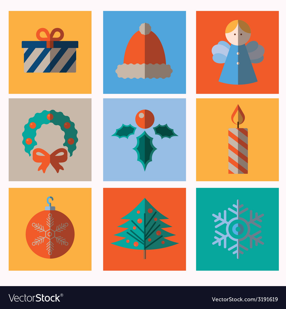 Set of modern style Christmas icons