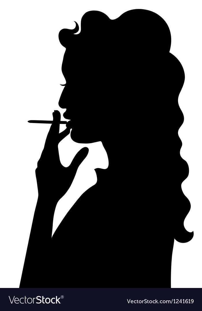 Silhouette of smoking girl