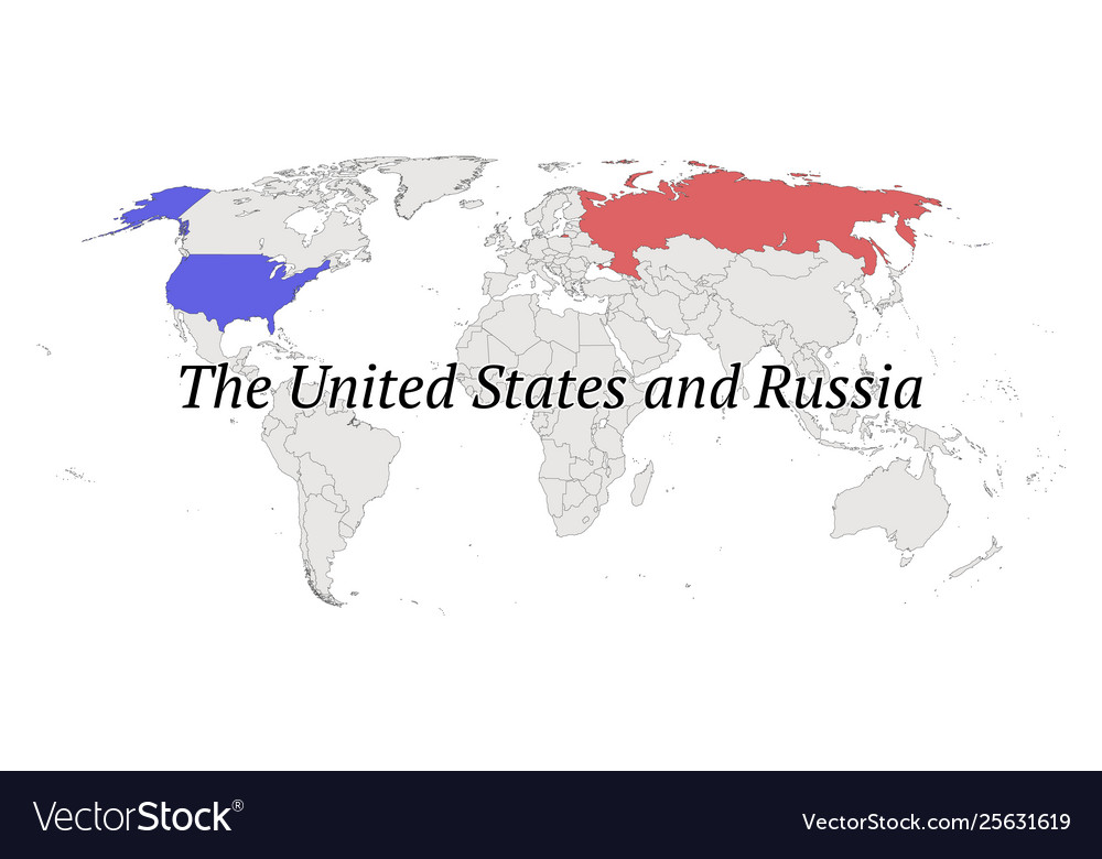 united states in world map United States And Russia Contour World Map Vector Image