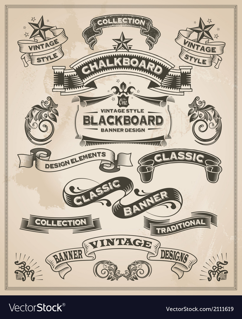 Vintage hand drawn calligraphic banner designs