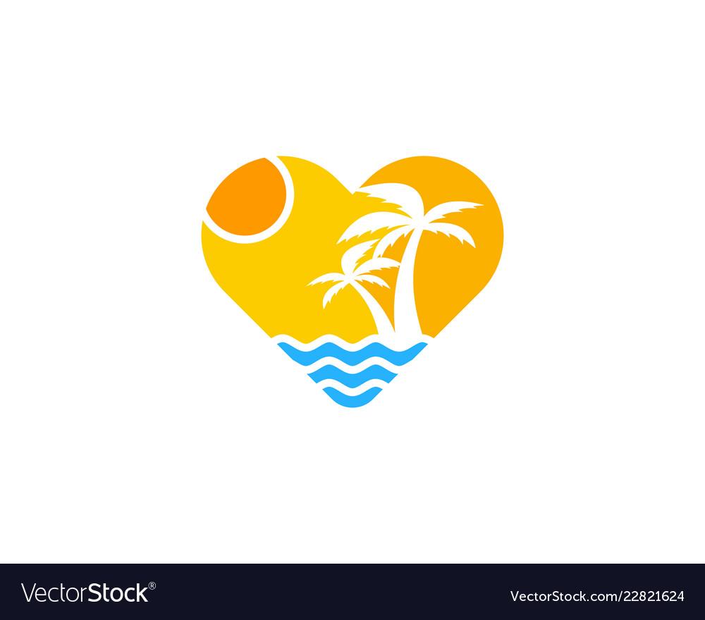 Beach love logo icon design