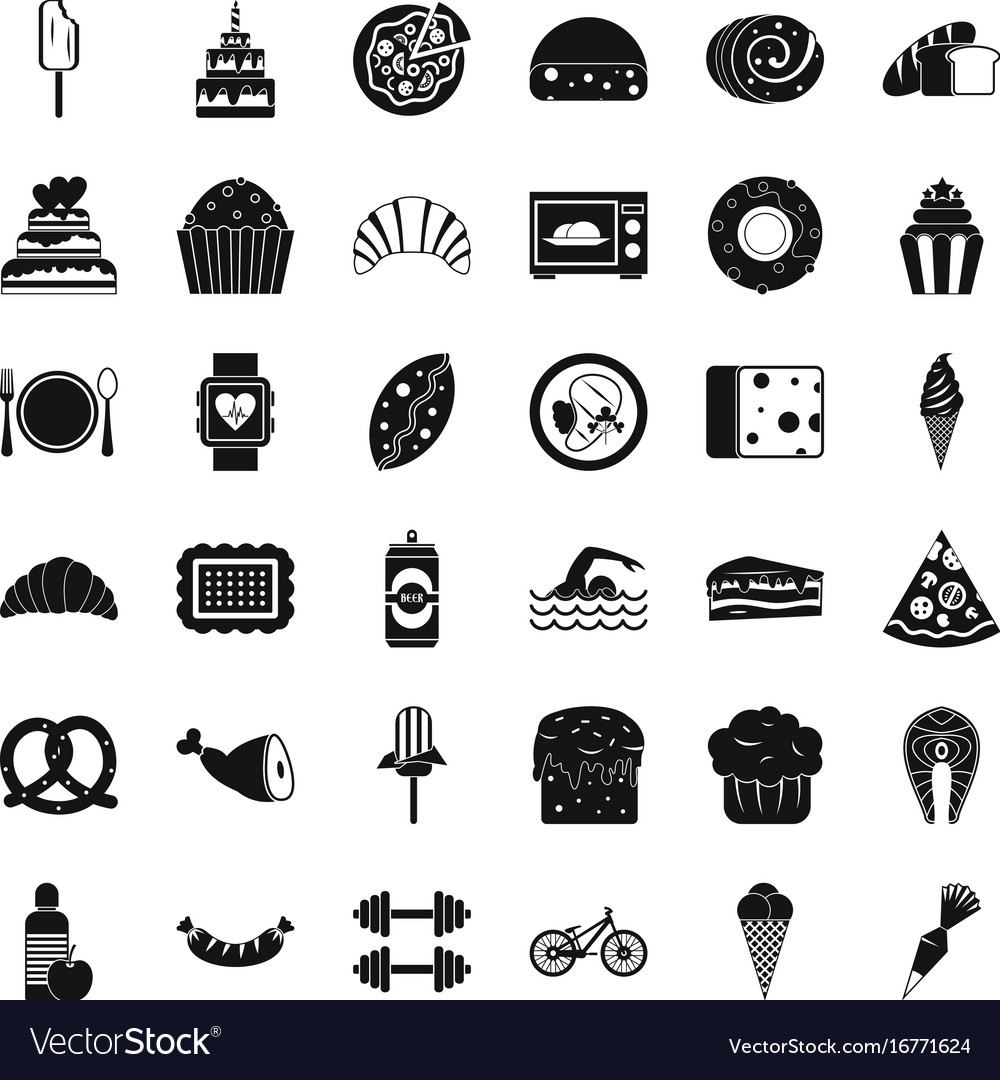 Calories in food icons set simple style