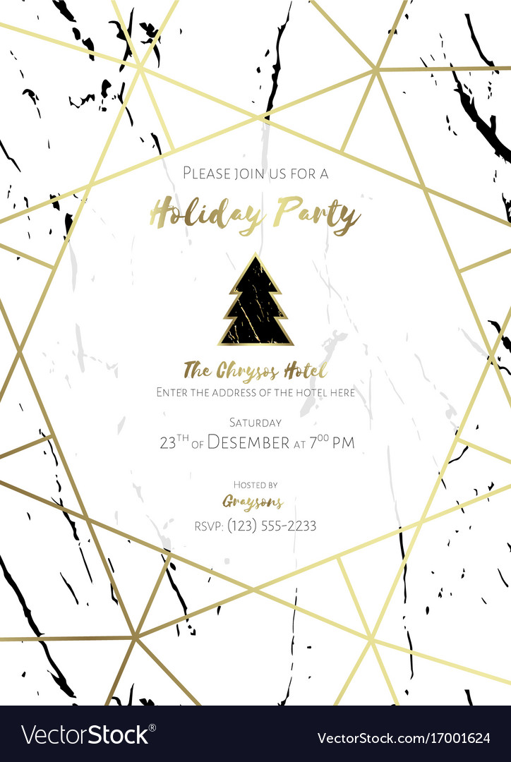 Christmas party invitation black gold and white