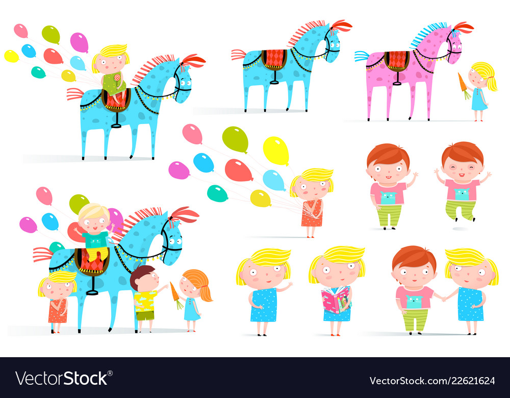 Circus horse and kids clip art collection