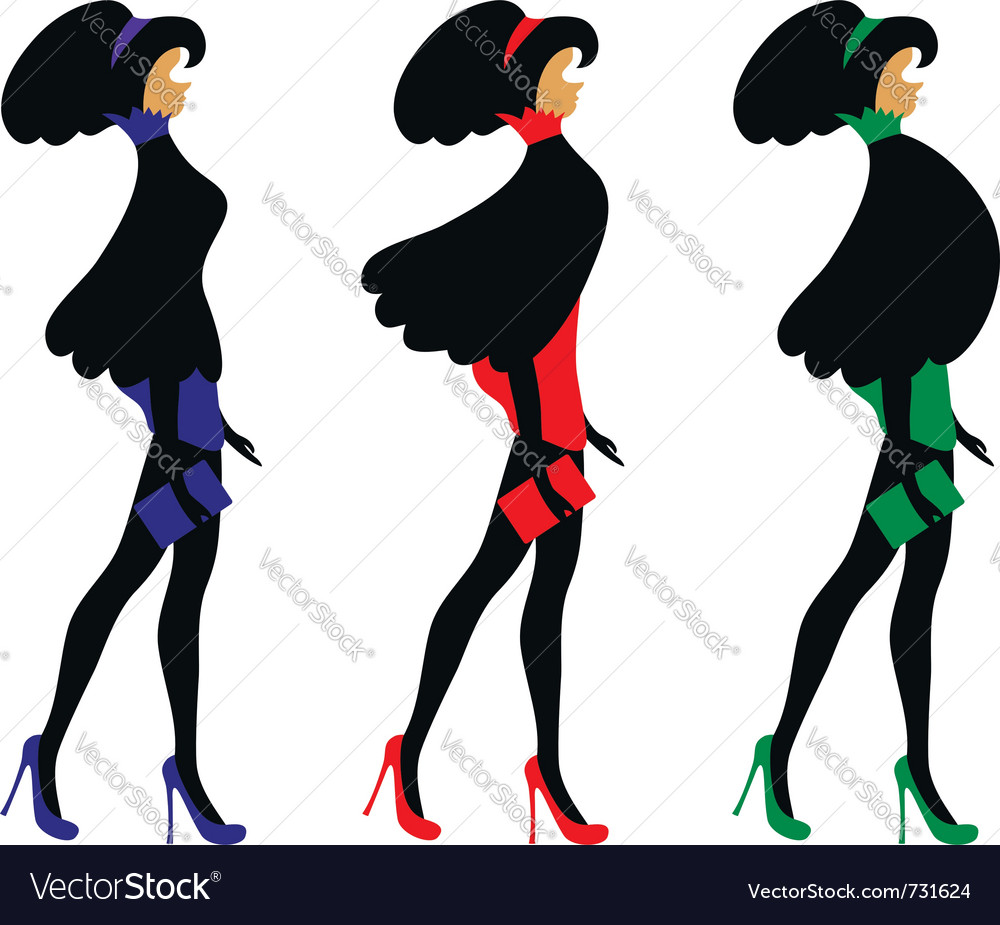 Fashionable women vector image
