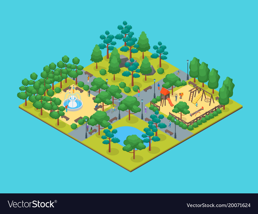 Green city park concept 3d isometric view