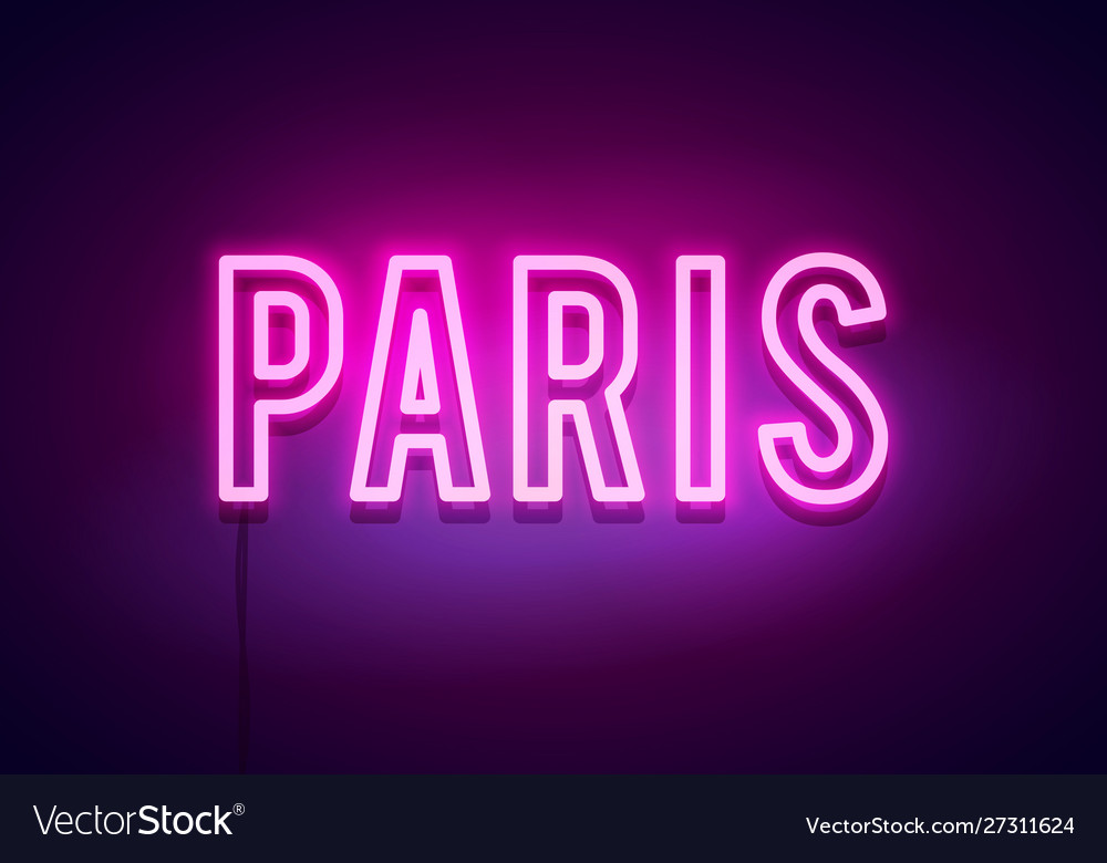 Modern paris city neon light sign