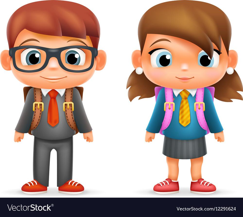 Realistic School Boy Girl Child Pupil Cartoon Vector Image