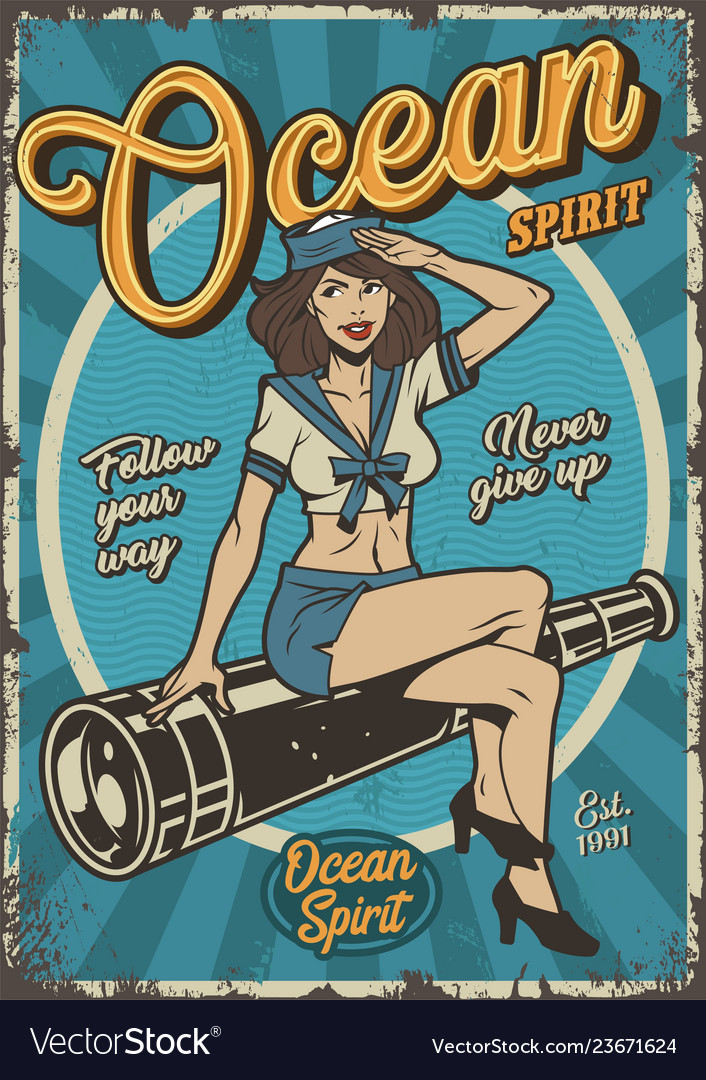 Retro nautical colorful vintage poster