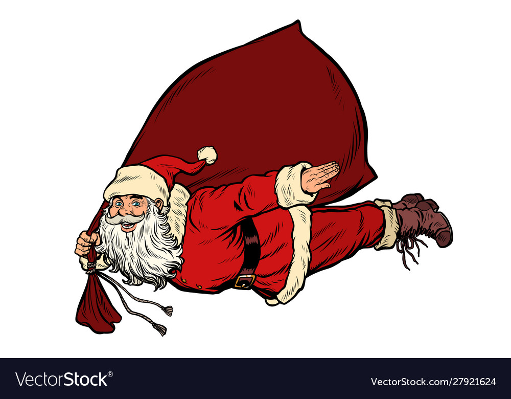 Santa claus superhero is flying with a bag of