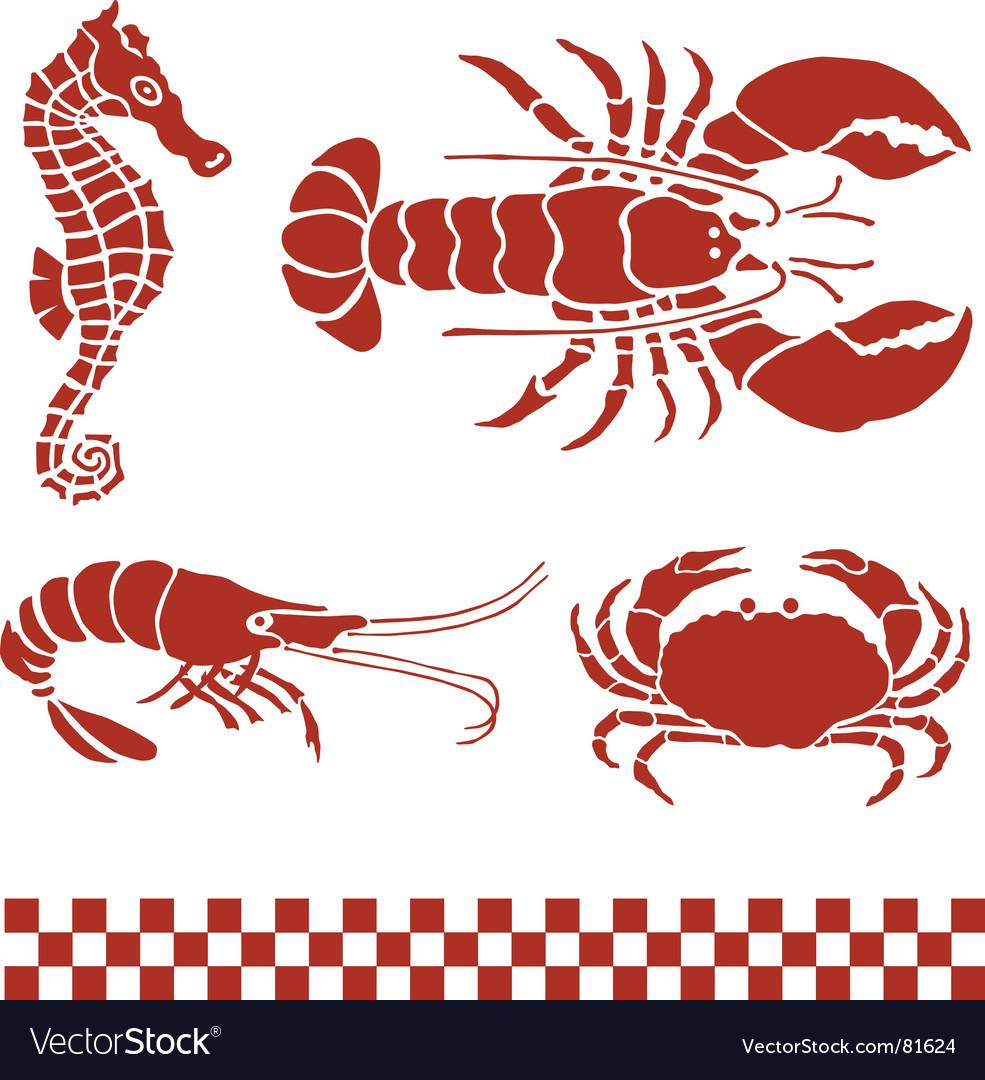 Seafood sea creatures vector image