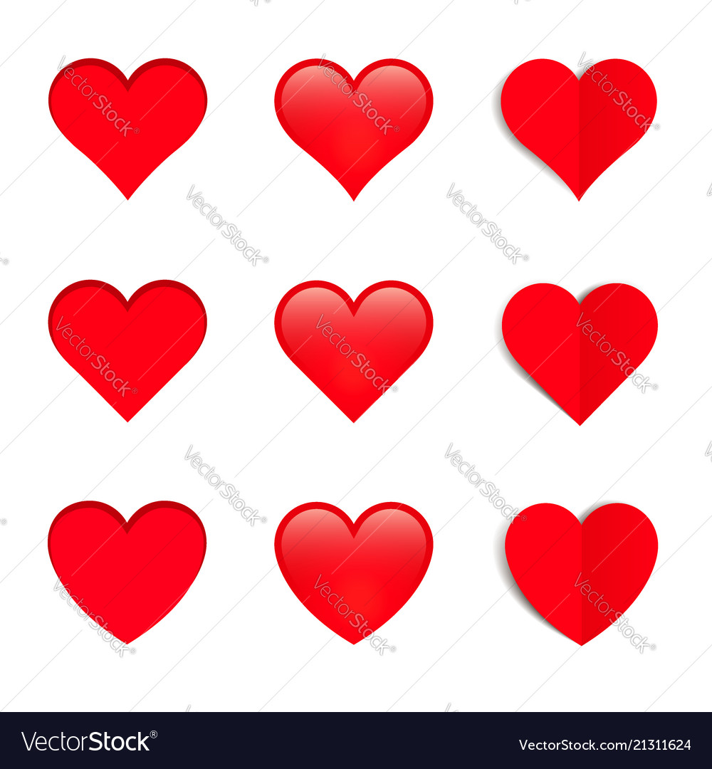 Set of different style hearts