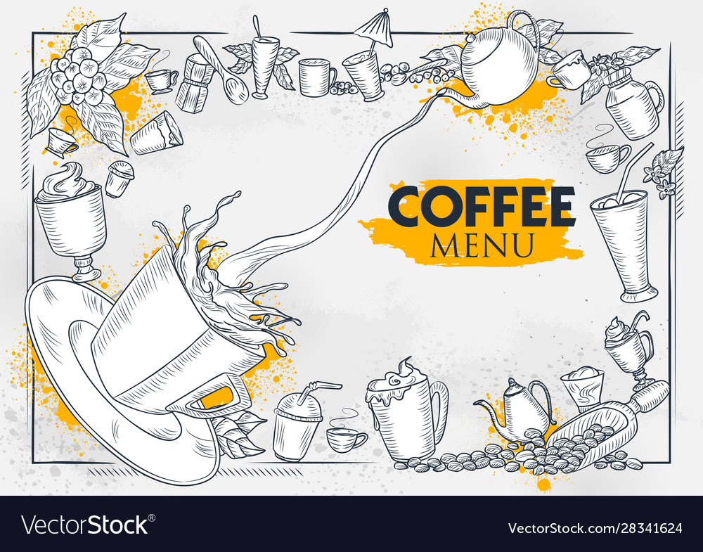 Template different types coffee for menu