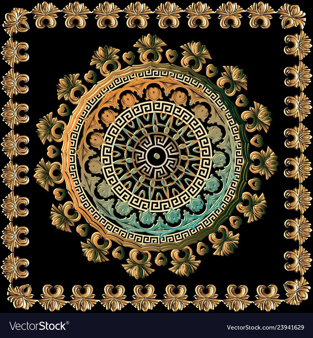 3d baroque mandala pattern floral antique square