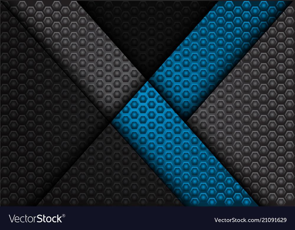 Abstract blue arrow on dark gray hexagon