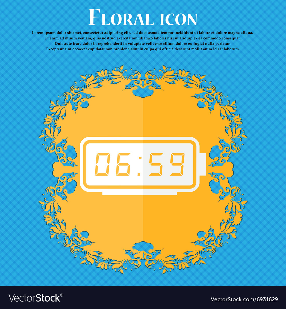 Alarm clock icon Floral flat design on a blue