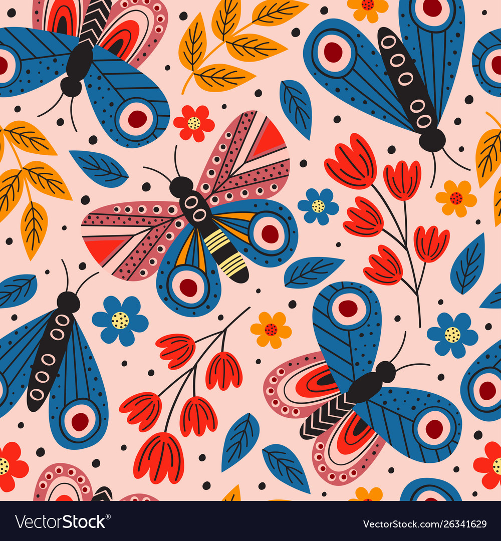 Basic rgbpink seamless pattern with butterflies