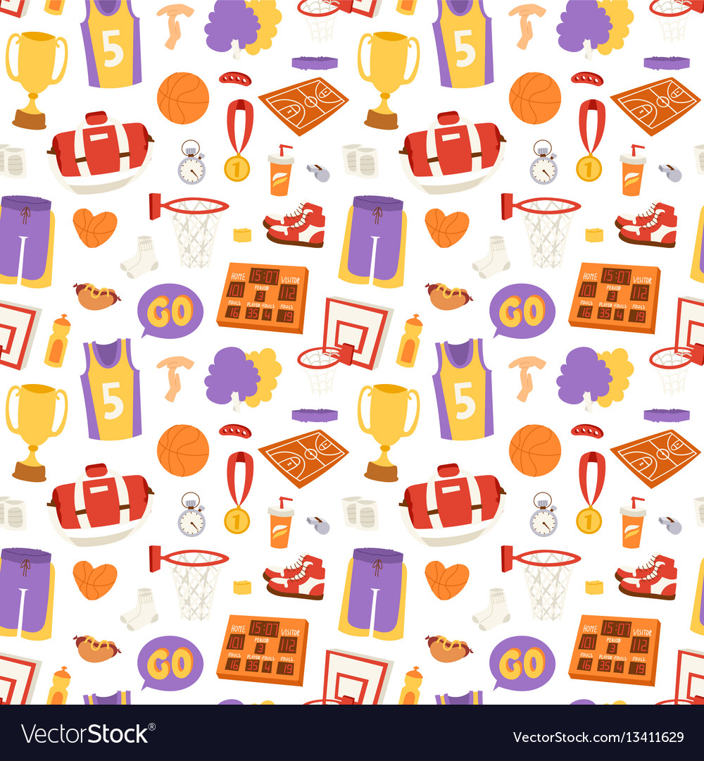 Basketball stickers icons seamless pattern