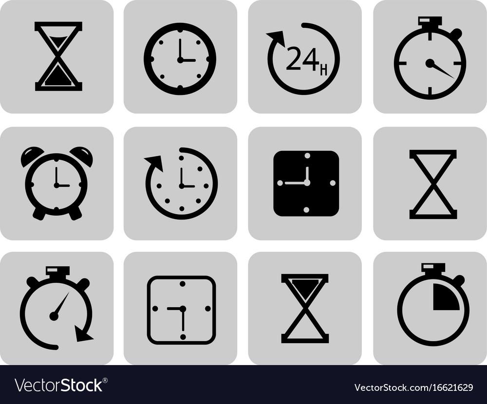 Clocks icons set on grey time chronometer vector image