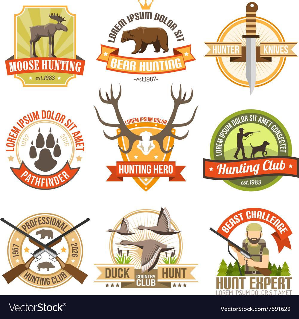 Flat Color Hunting Emblems