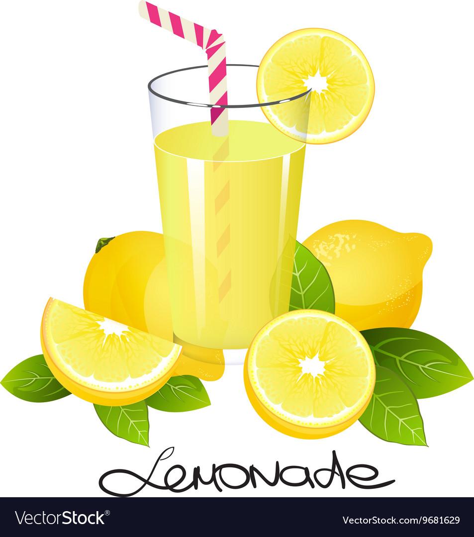 Fresh lemonade with lemon fruit slice Realistic