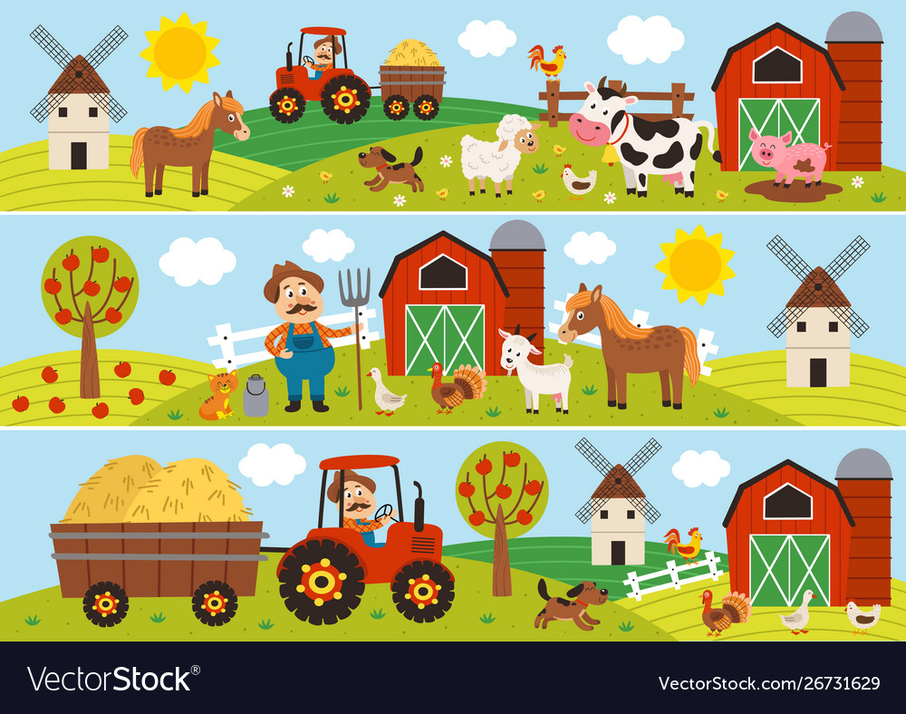 Horizontal banners with farmer and pets