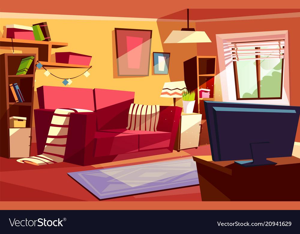 Living room interior cartoon vector image