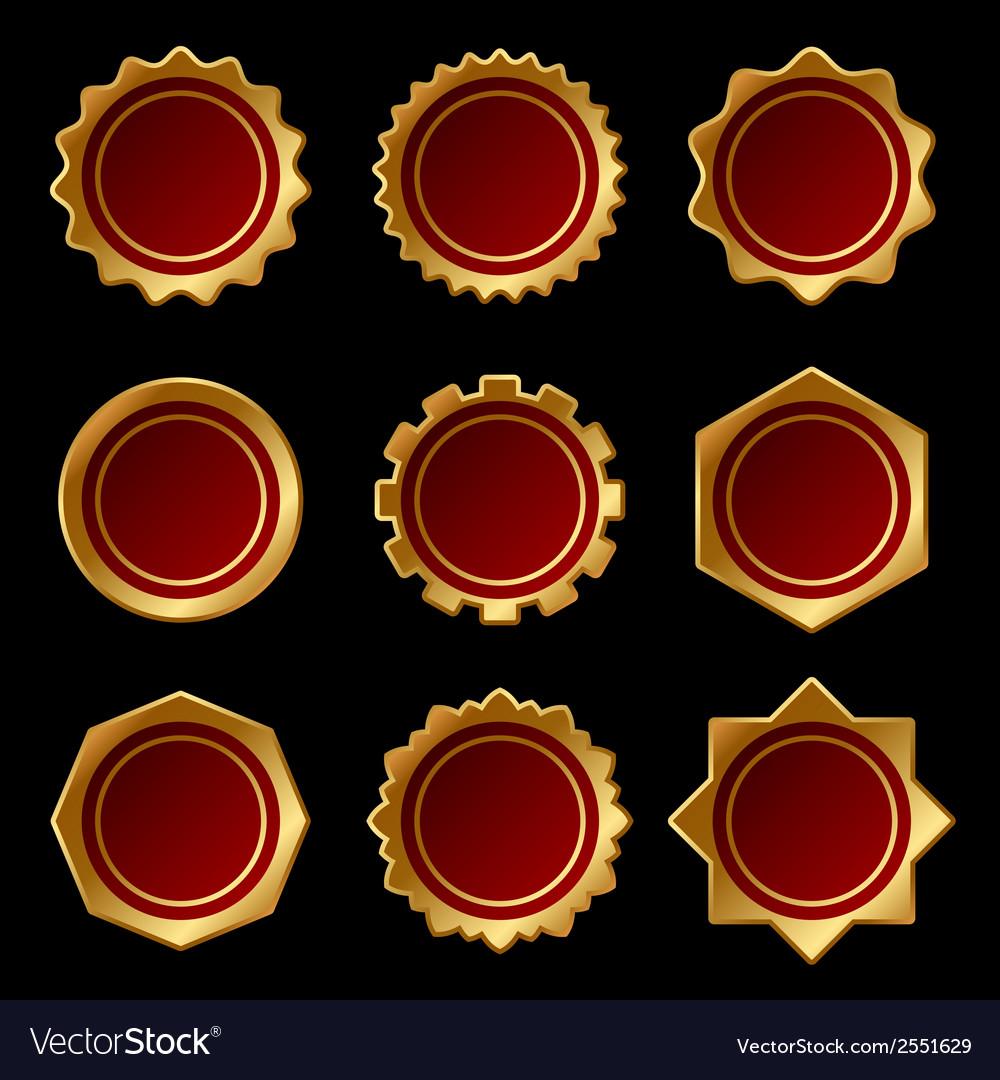Set of Golden Blank Seal Wax Stamp vector image