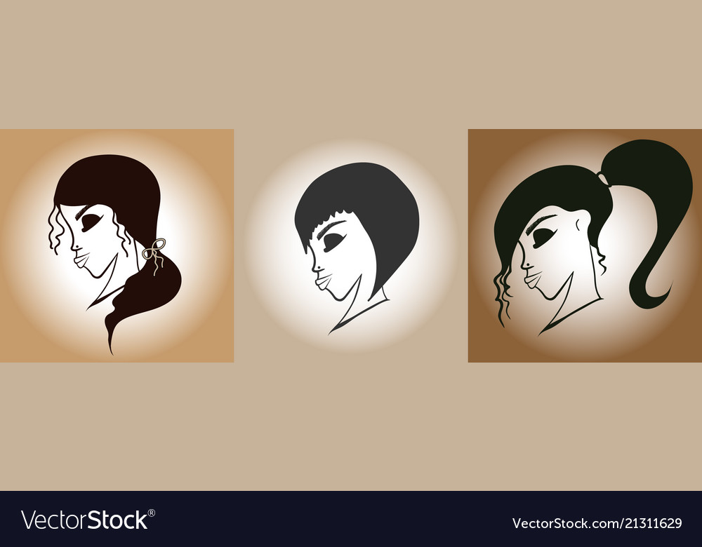Set women s hairstyles retro style vector image