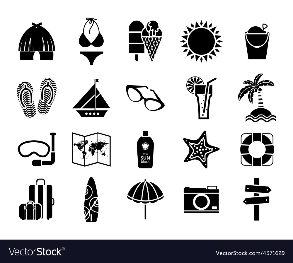 summer icons black on white royalty free vector image vectorstock