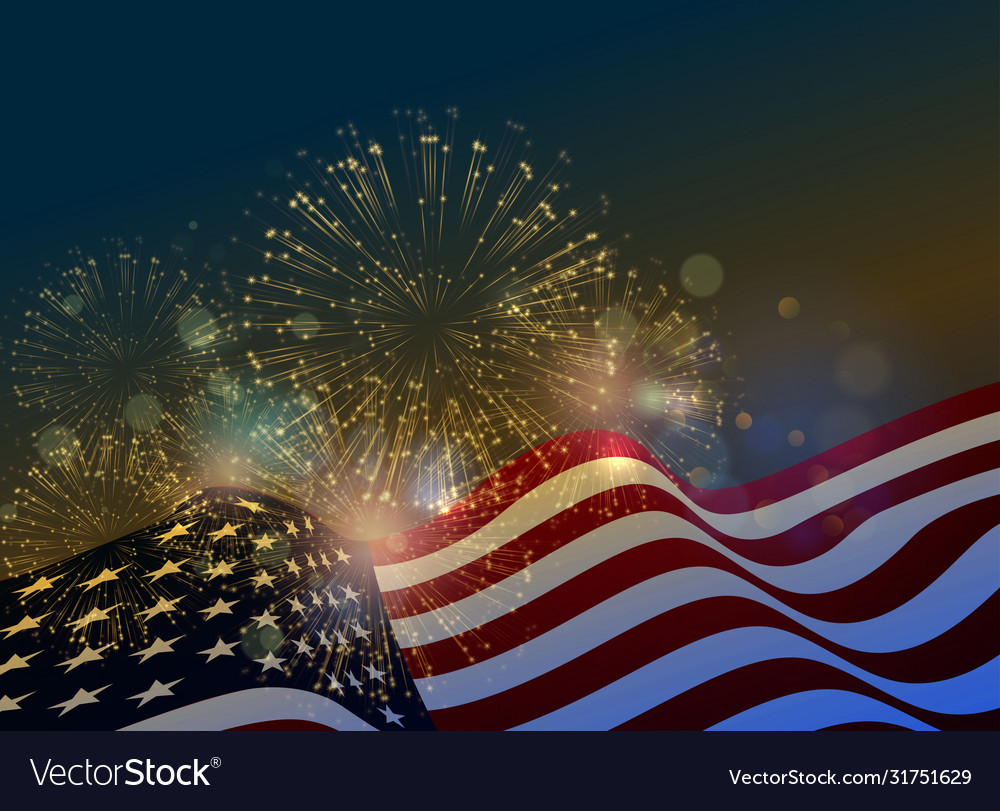 United states flag fireworks background for usa