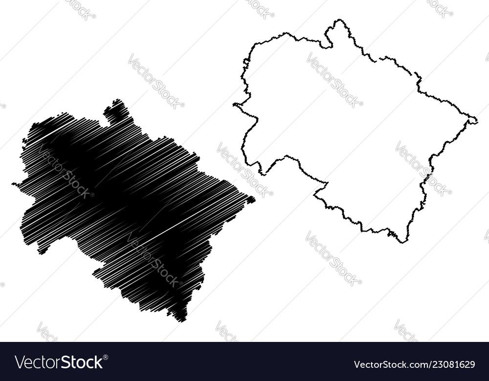 Uttarakhand map Royalty Free Vector Image - VectorStock