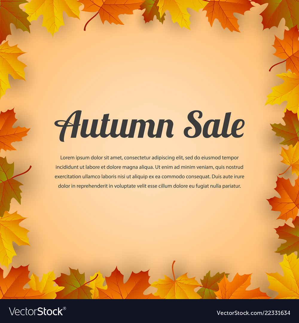 Autumn sale autumn background with red yellow