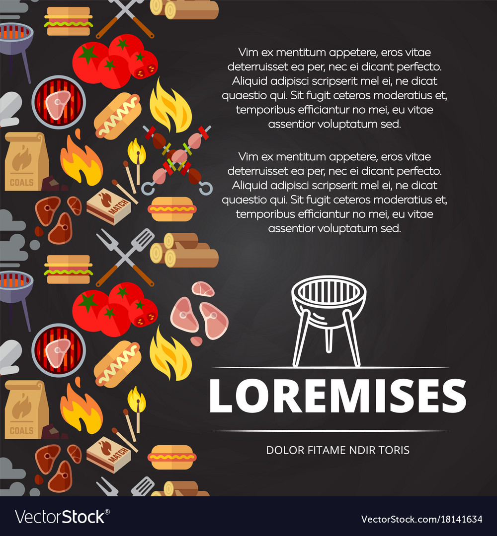 Barbecue burgers and equipment chalkboard poster