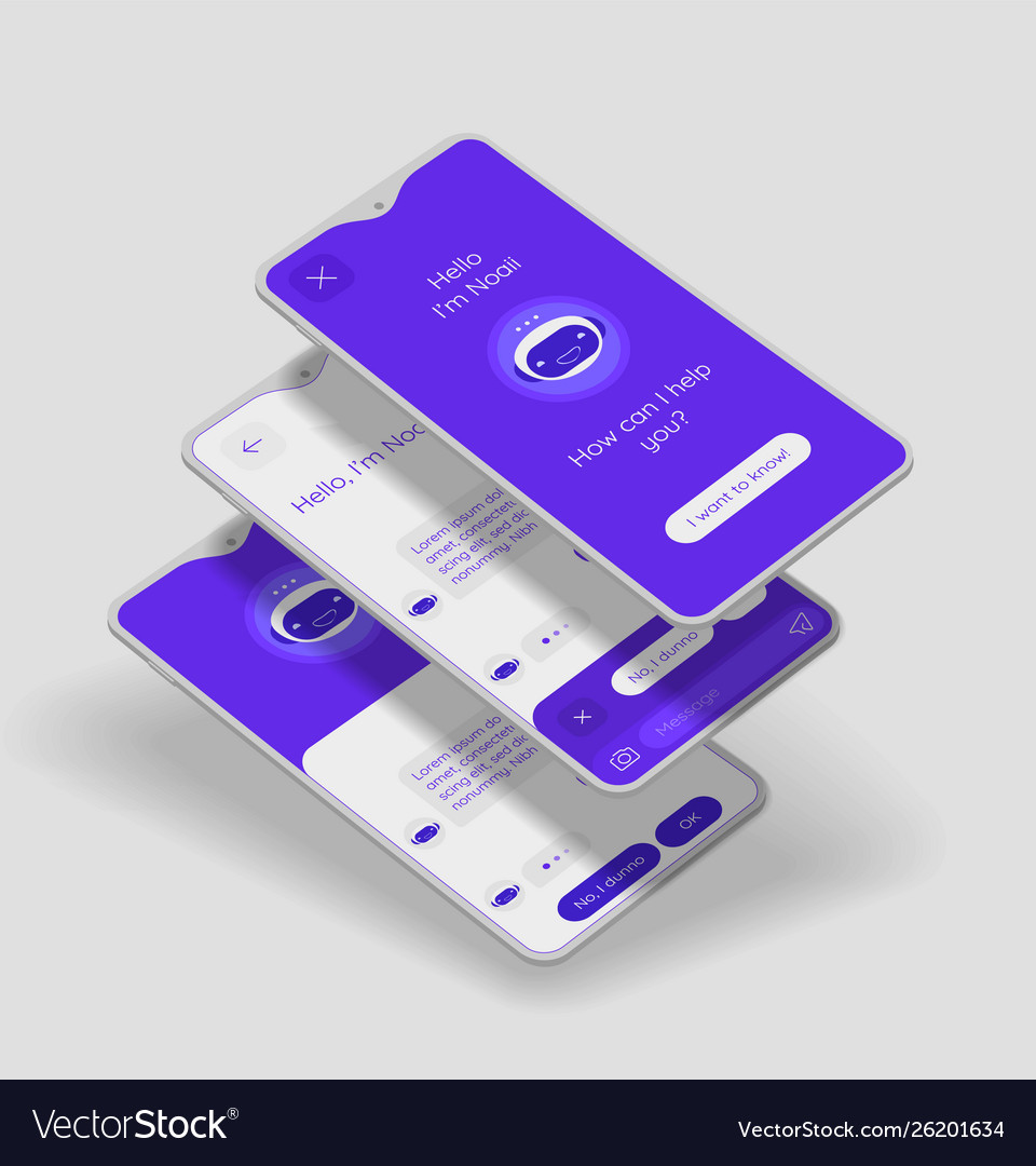 Chatbot mobile app concept with 3d mockups