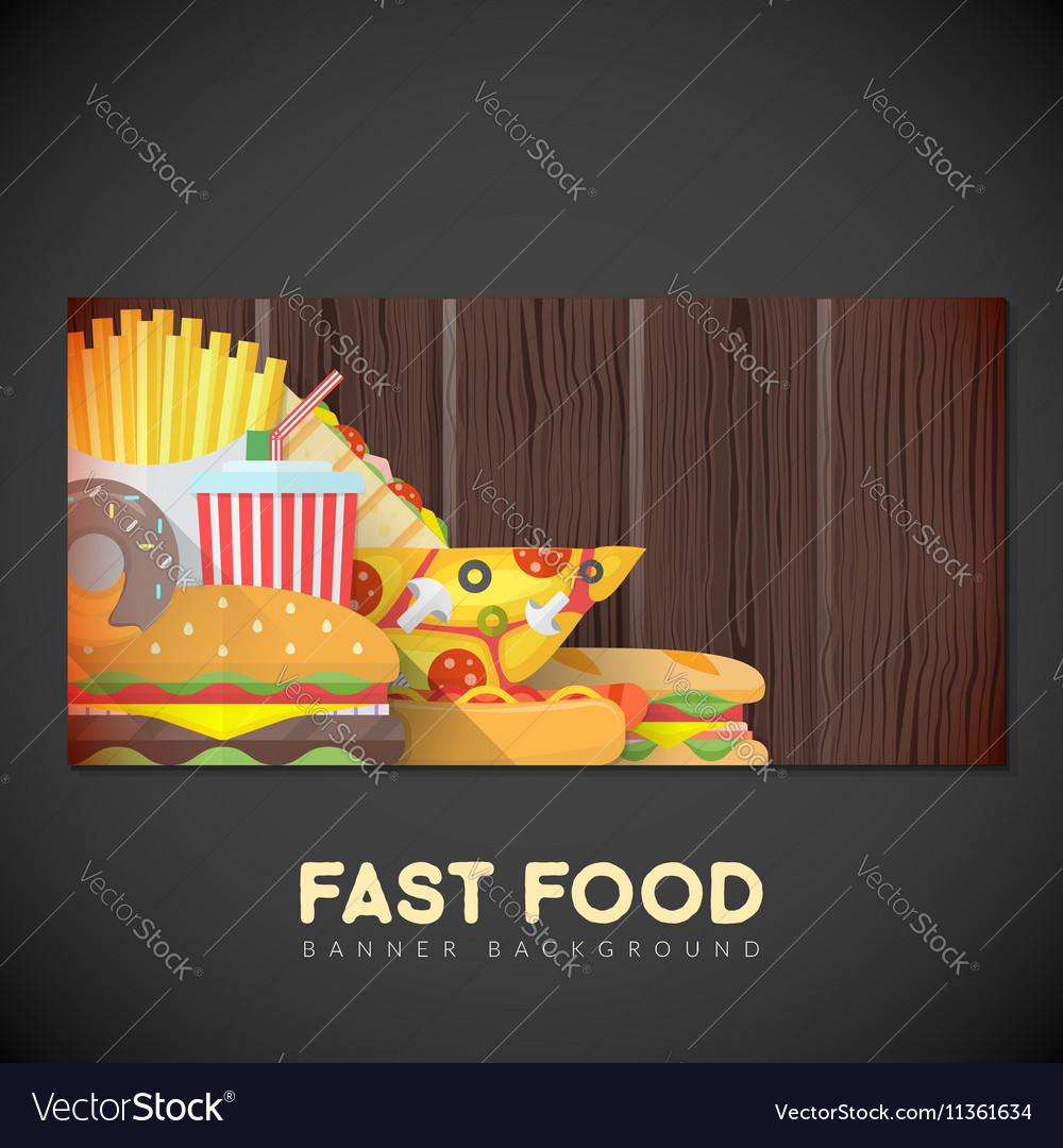 Fast Food Banner Backdrop Template Royalty Free Vector Image