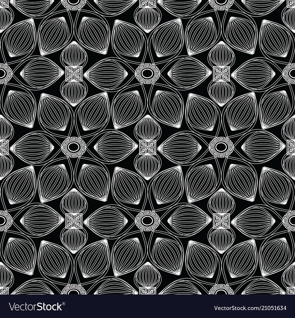 Floral monochrome greek seamless pattern