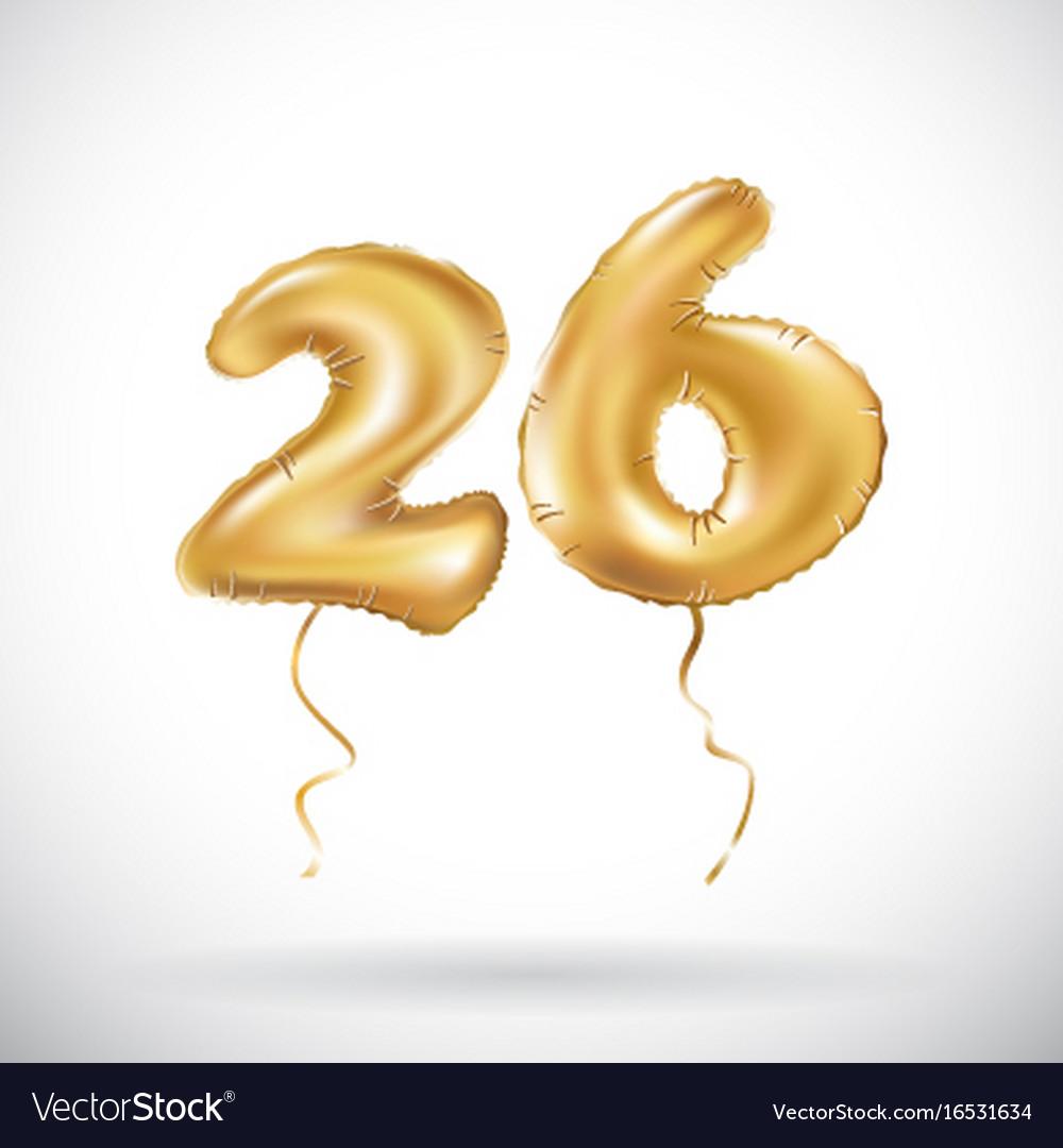 Golden number 26 twenty six metallic balloon