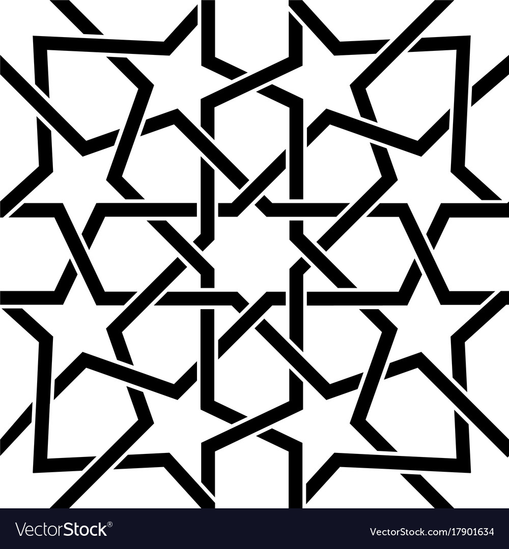 Moroccan Tile Black And White Design Moorish Seam