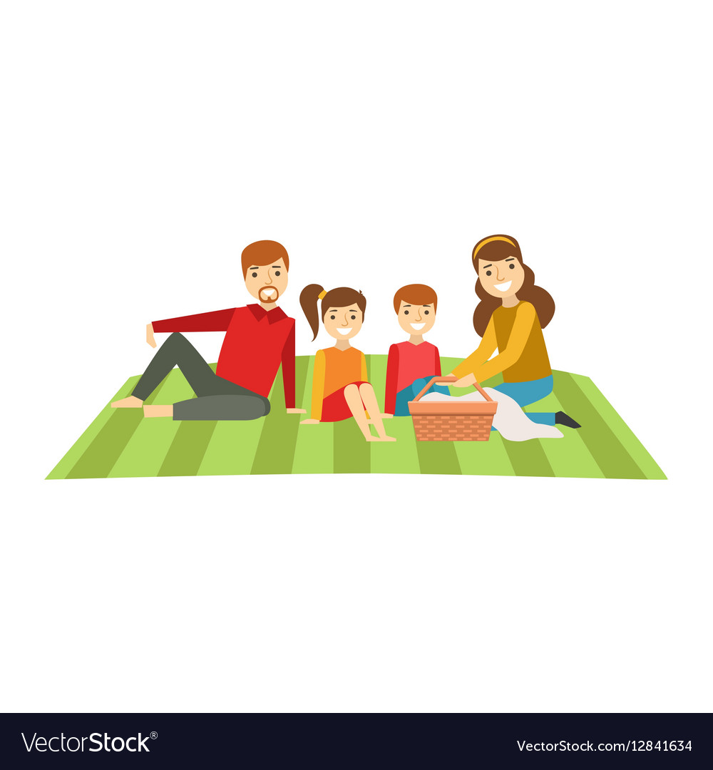Parents And Kids Having Picnic Happy Family