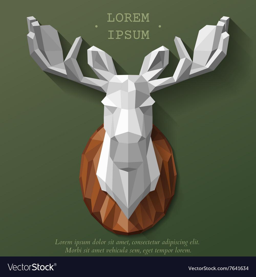Poly elk head vector image
