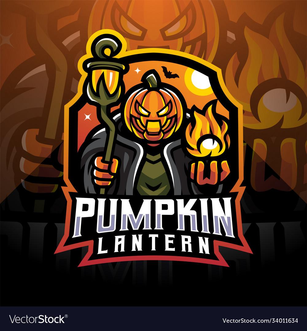 Pumpkin lantern esport mascot logo