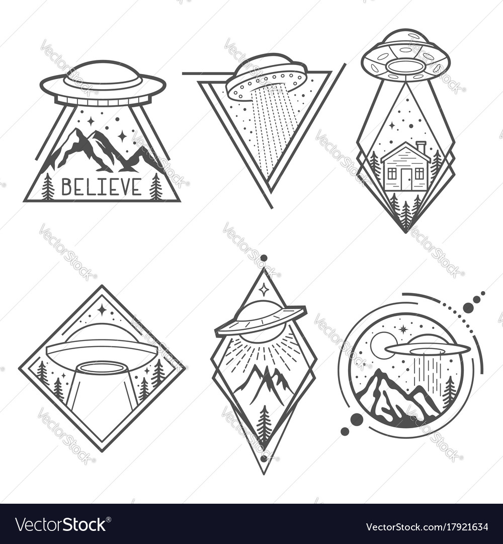 Set of six ufo emblems labels badges or logos