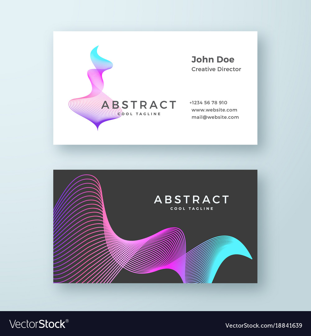 Abstract blend wavy symbol business card