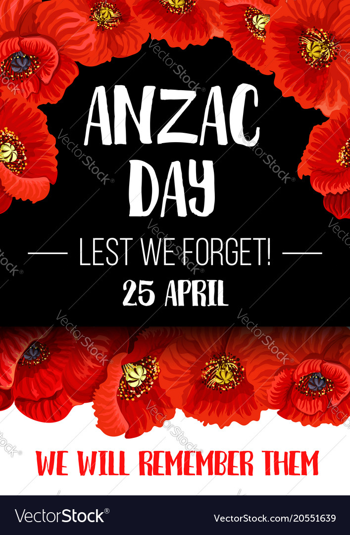 Anzac Remembrance Day Red Poppy Flower Banner Vector Image