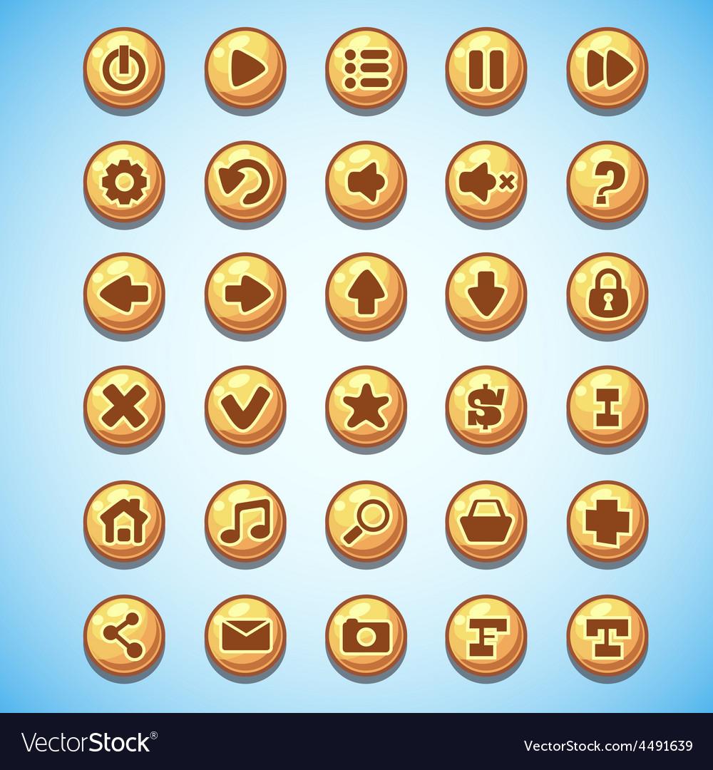 Big set of round buttons cartoon computer game