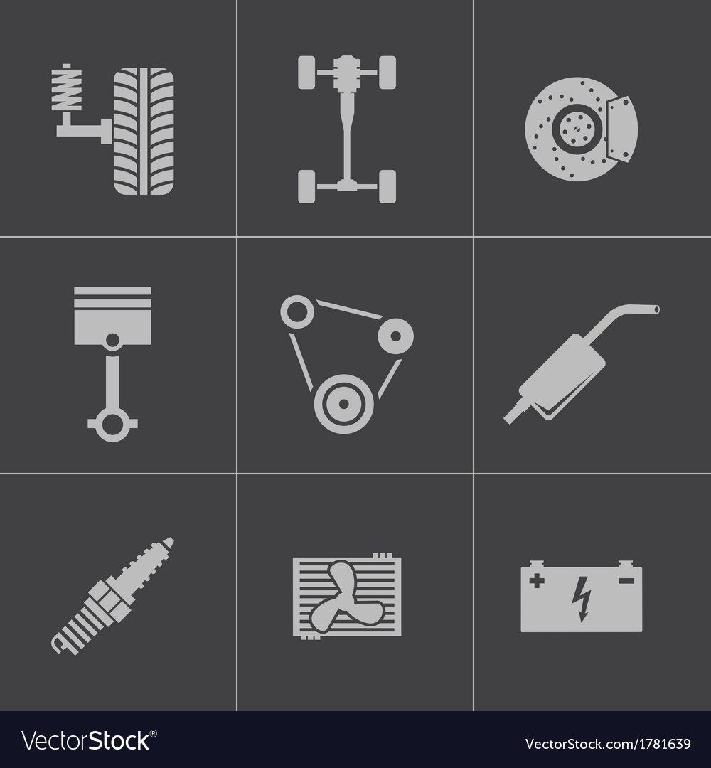 Black car parts icons set