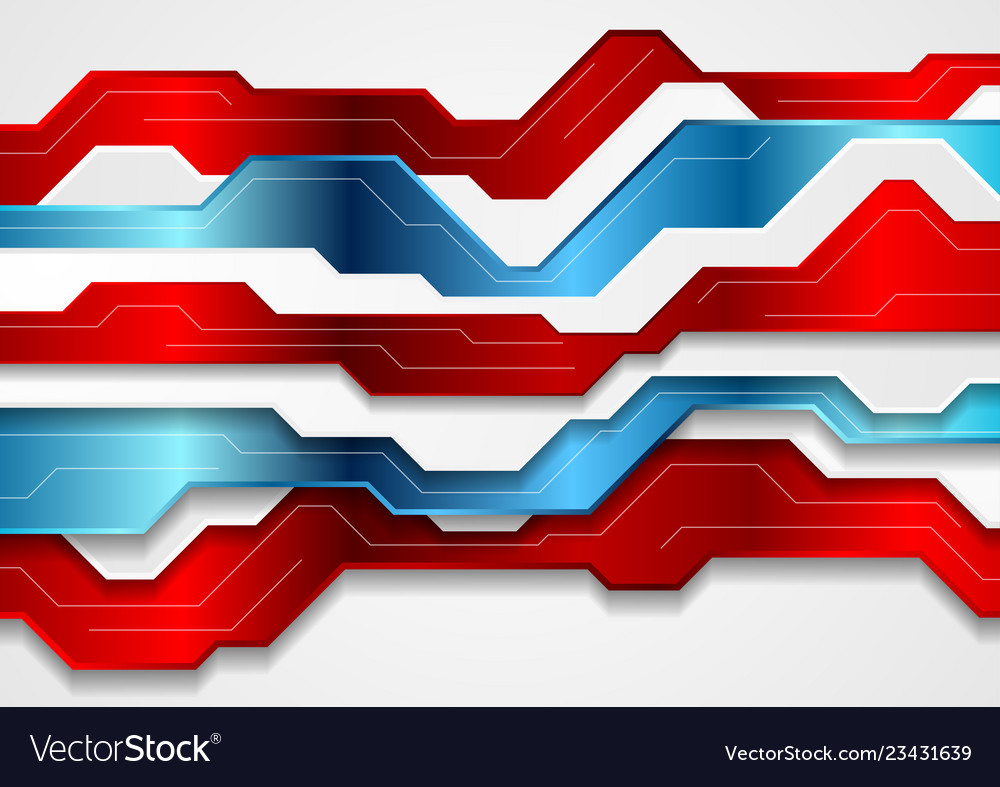 Blue and red abstract technology background