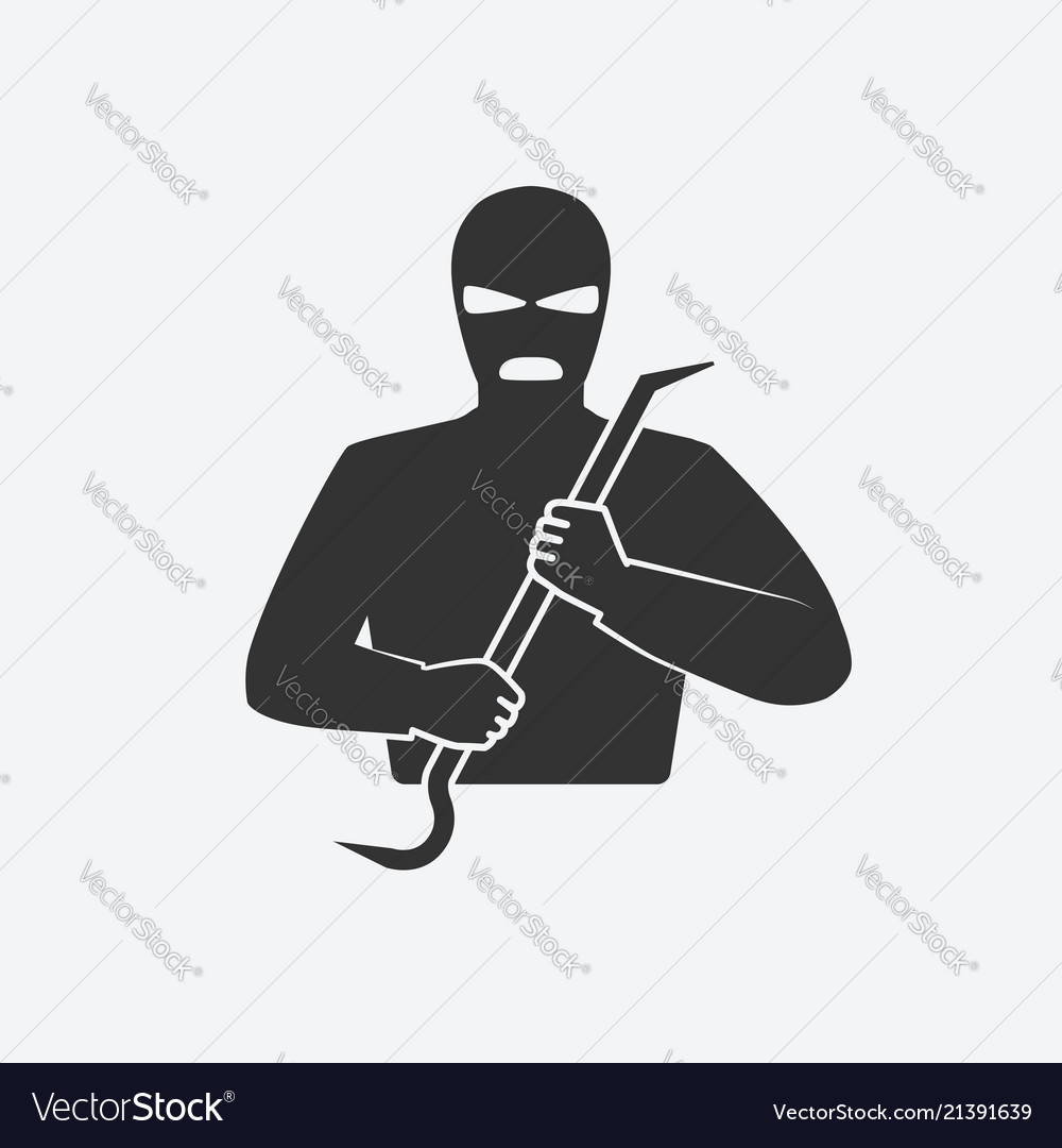 Burglar in mask with crowbar